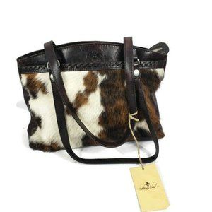 NWT Patricia Nash Shoulder Bag Brown & White Calf
